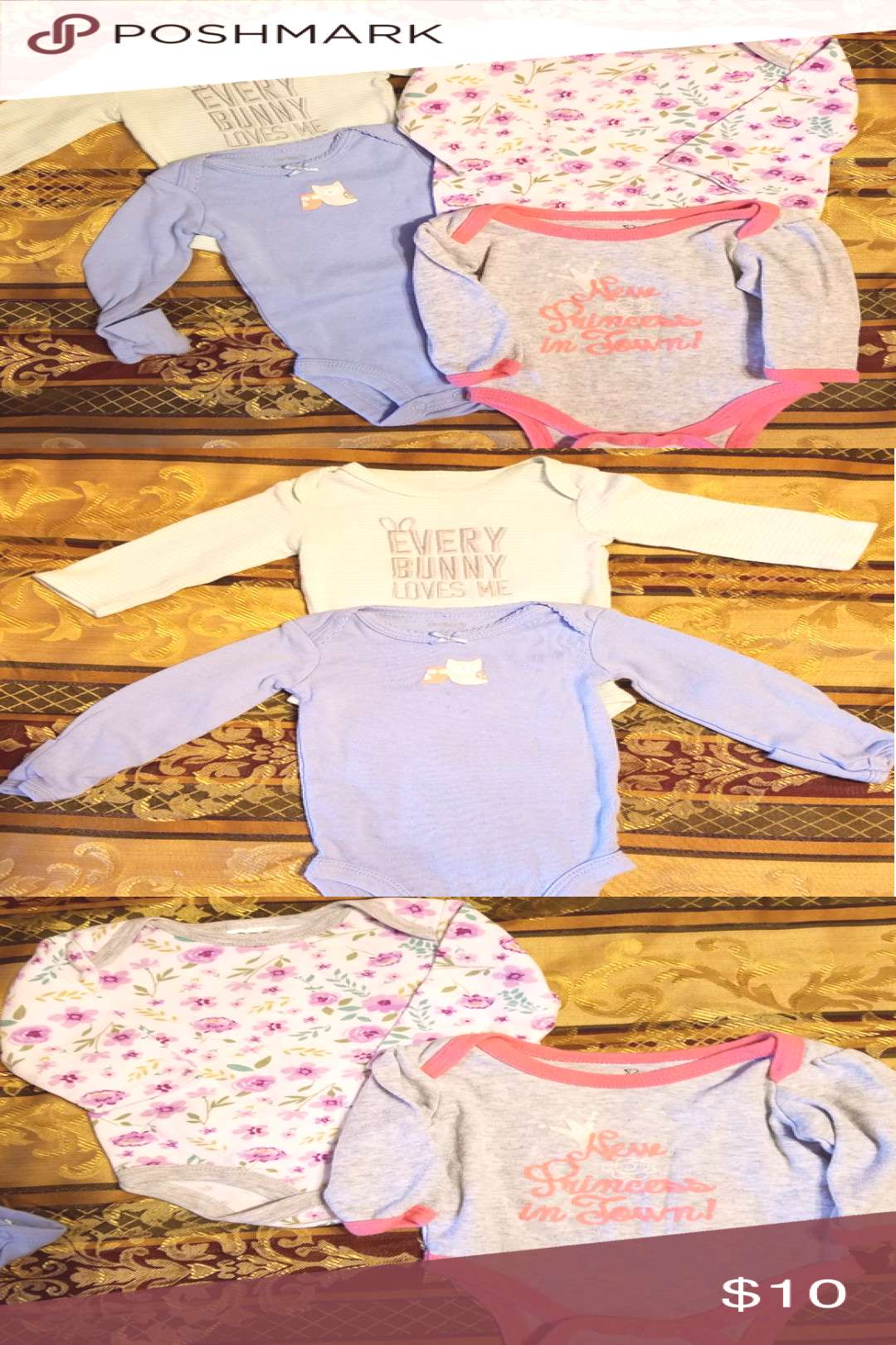 Cute onesies Like new! Not sure she even wore them! Cute baby blue with owls and mint green with gr