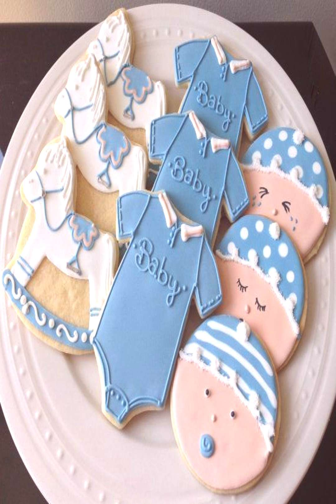 Decorated Baby Shower Cookies- Baby Faces, Onesies and Rocking Horses via Etsy - Decorated Baby Sh