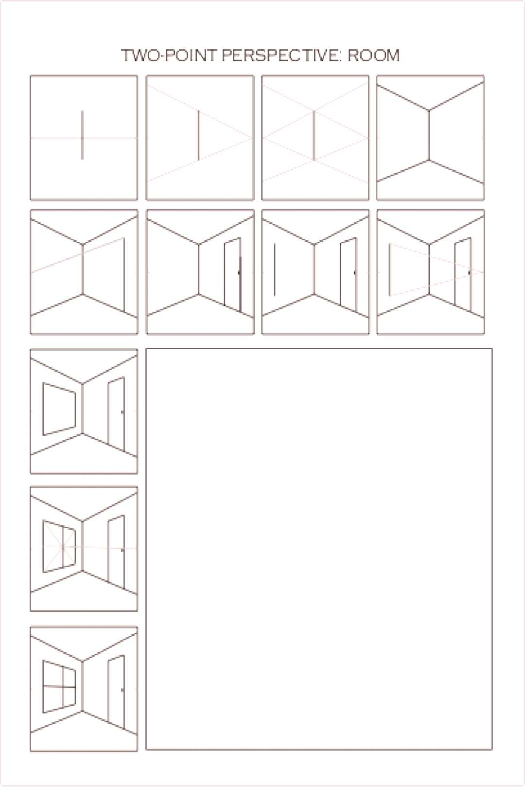 Drawing One-Point Perspective Worksheet Boxes - Dawn Pedersen, Artist