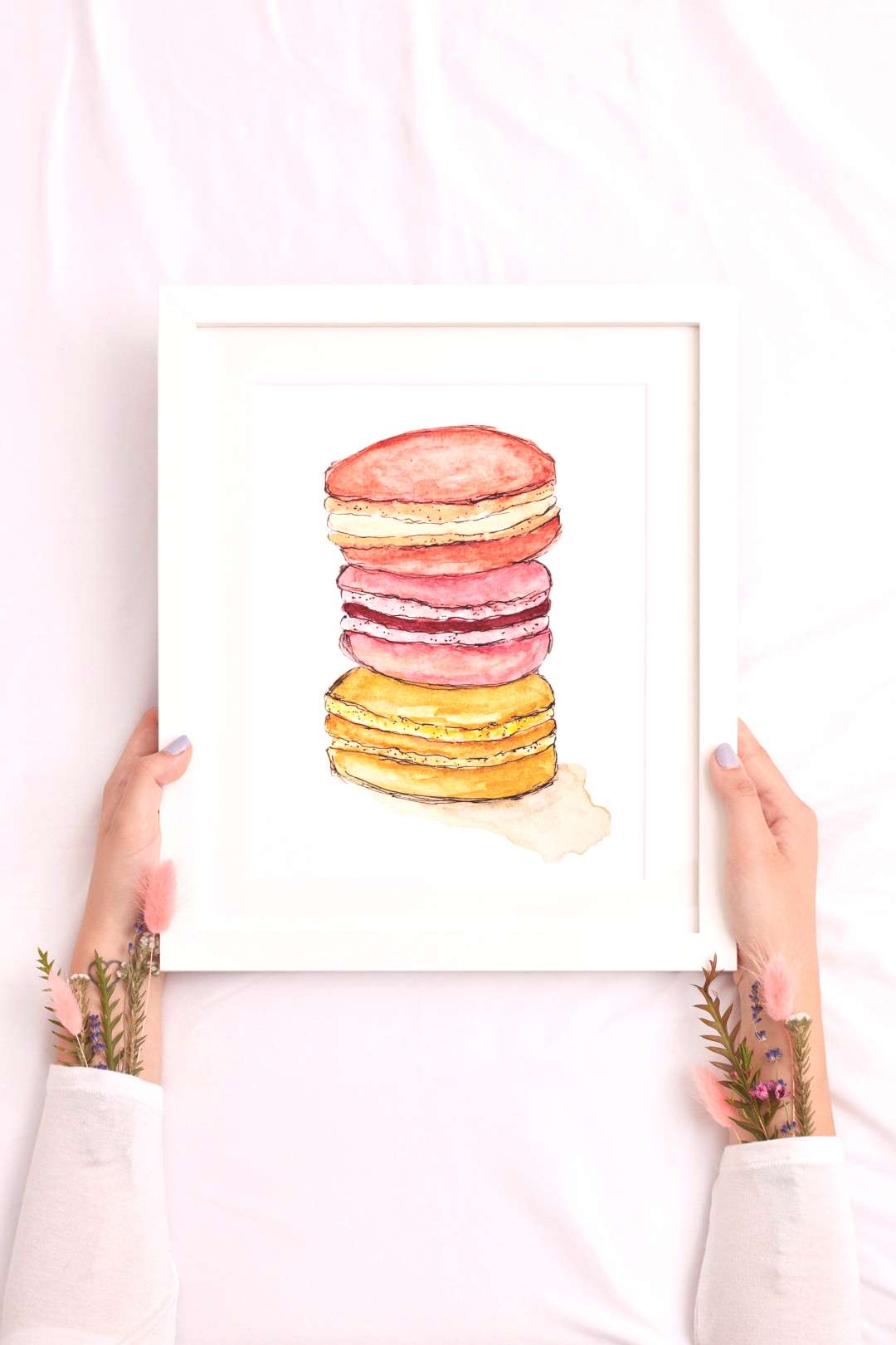 Excited to share this item from my shop Macaron Art, Food Art, Watercolor Macaron, Dessert Print,