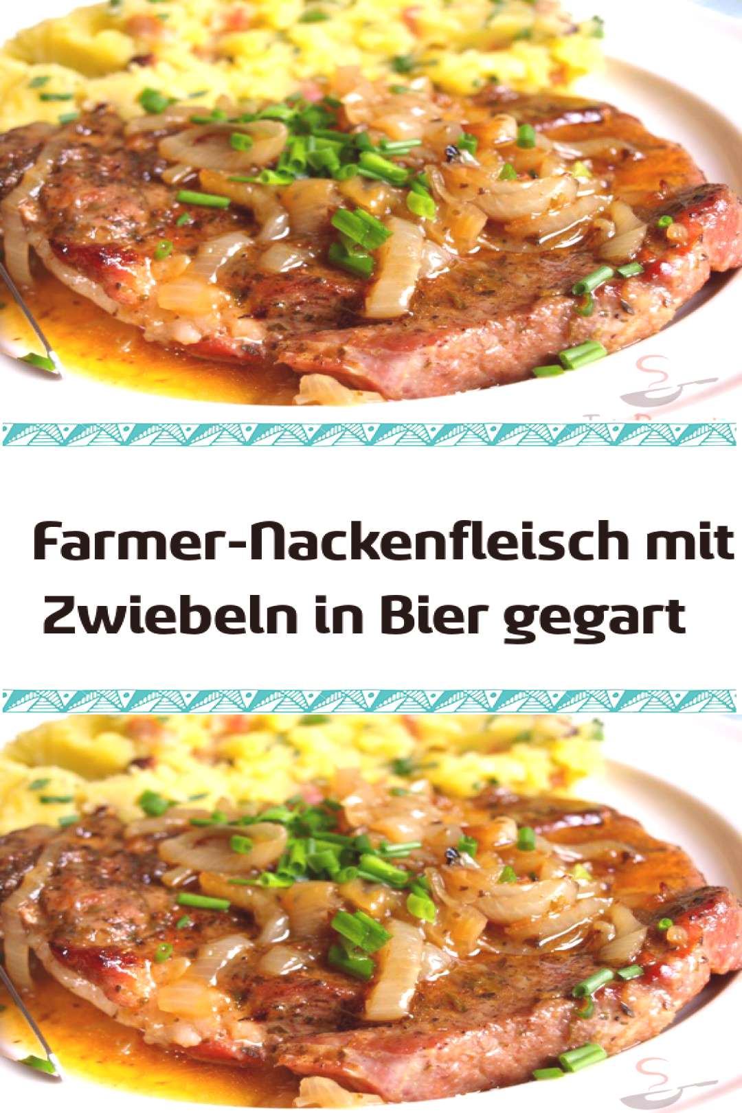 Farmers neck meat with onions cooked in beer - -