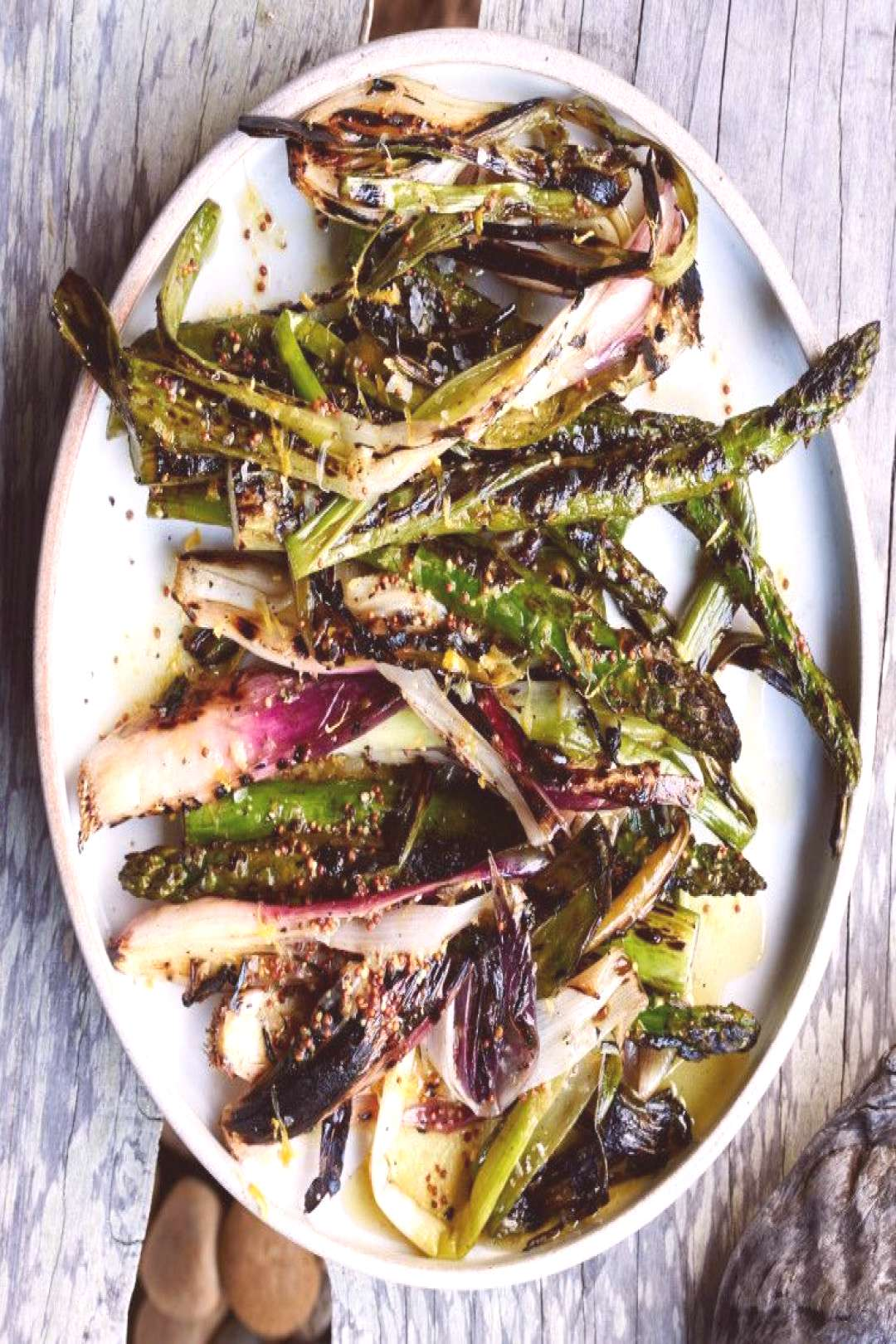 Grilled Asparagus and Spring Onions with Lemon Dressing Recipe -