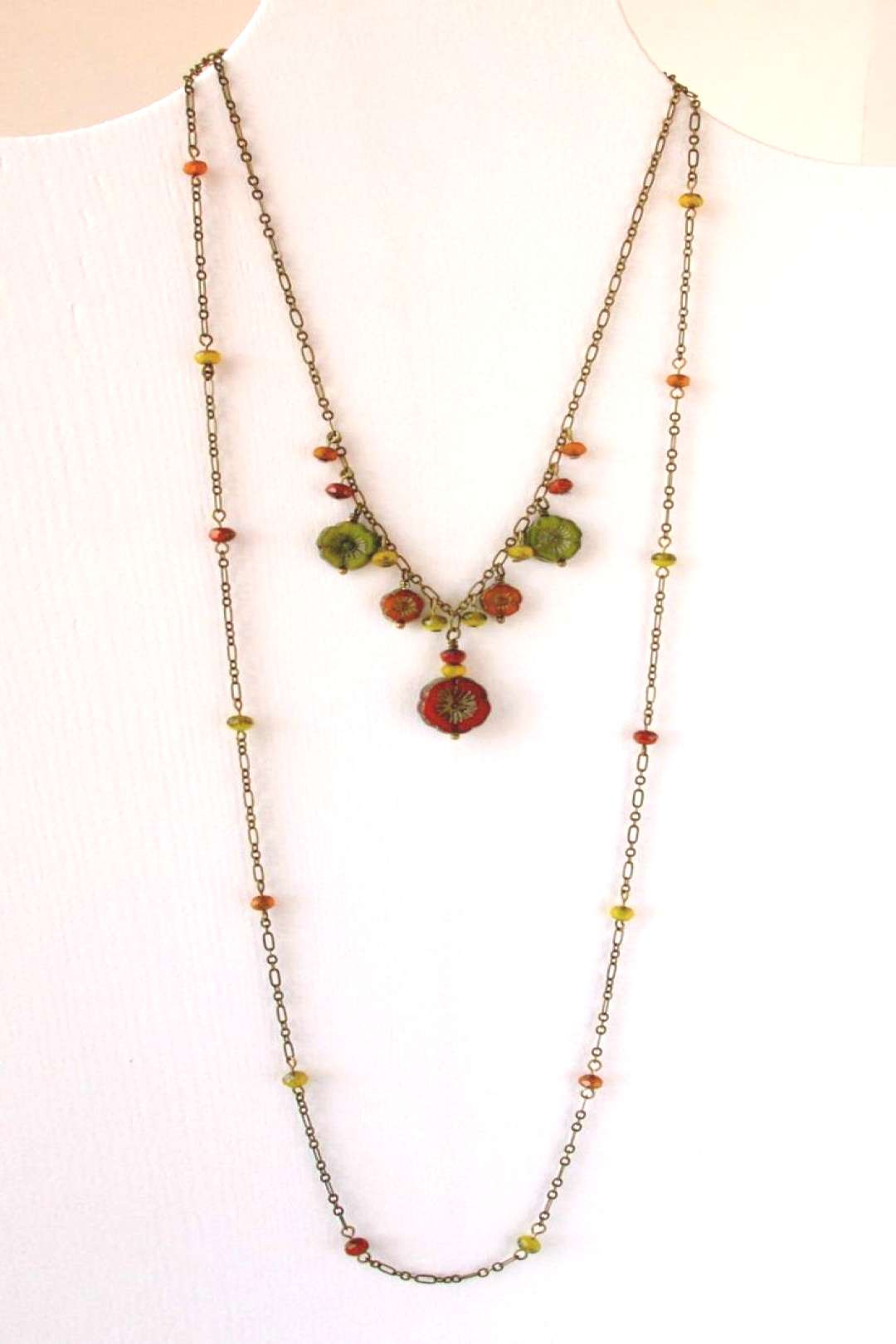 Handmade Necklace - Beaded Necklace - Floral Jewelry - Orange Necklace - Green Necklace - Orange an