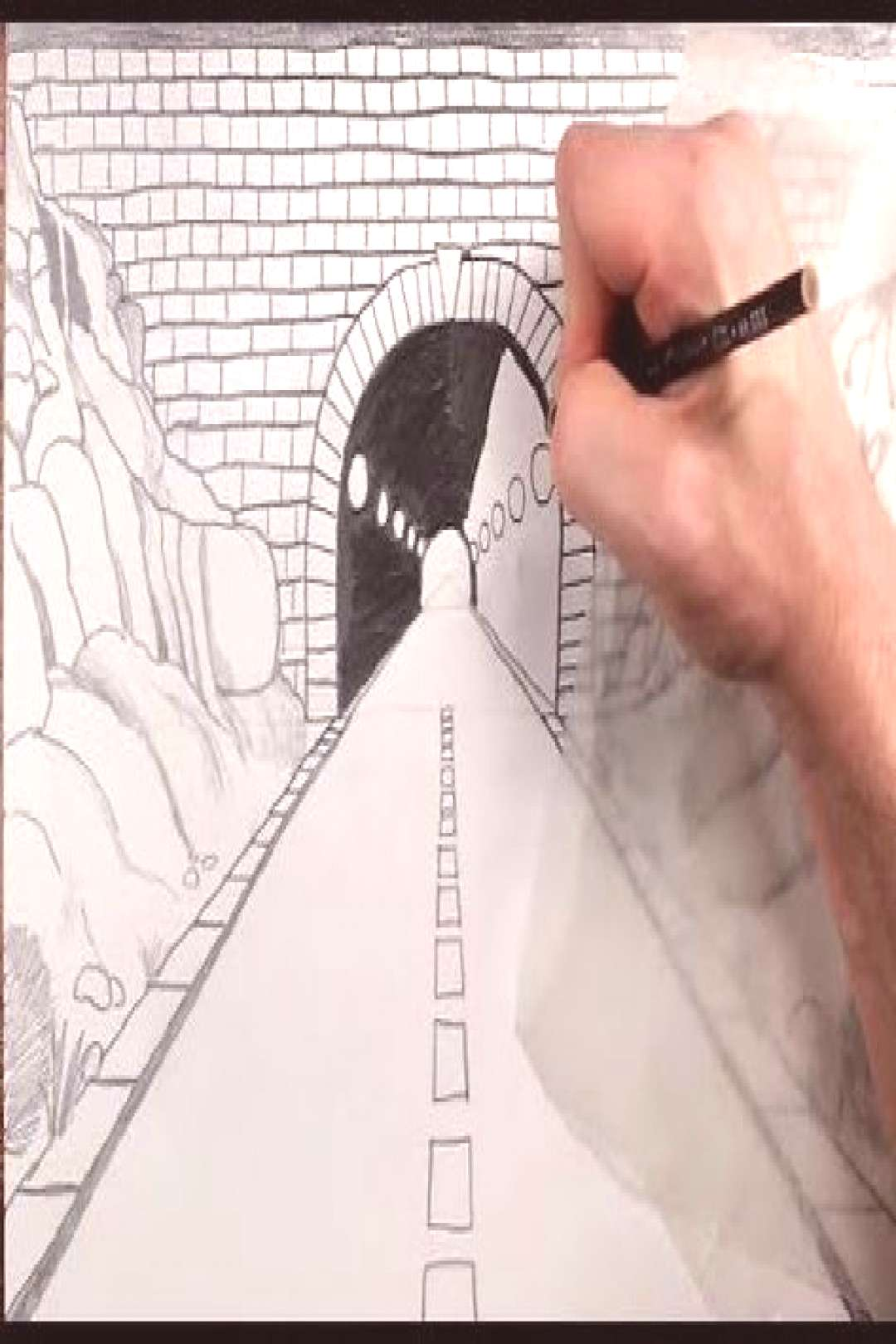 How to Draw a Highway Tunnel in One Point Perspective - YouTube