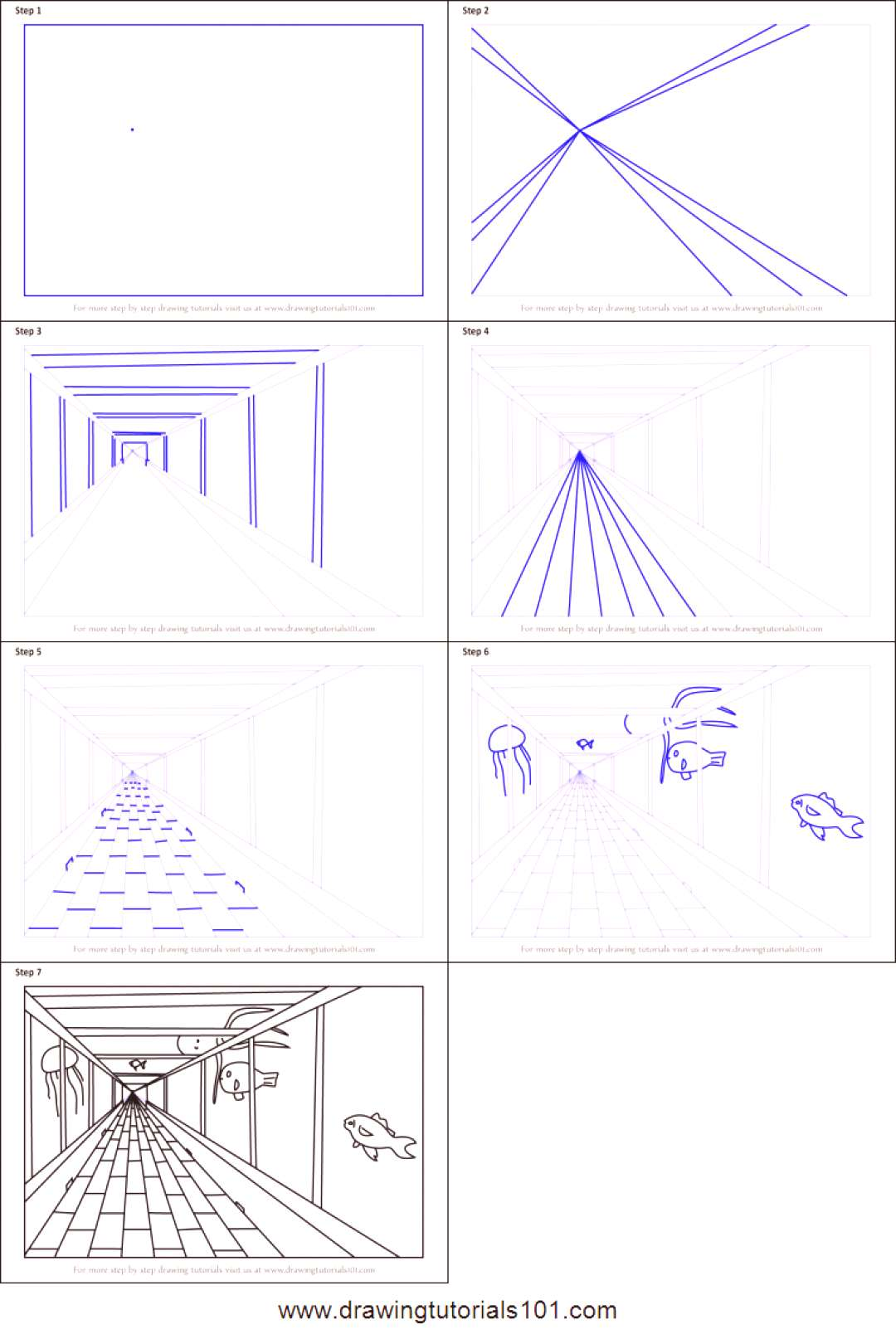 How to Draw One Point Perspective Aquarium printable step by step drawing sheet