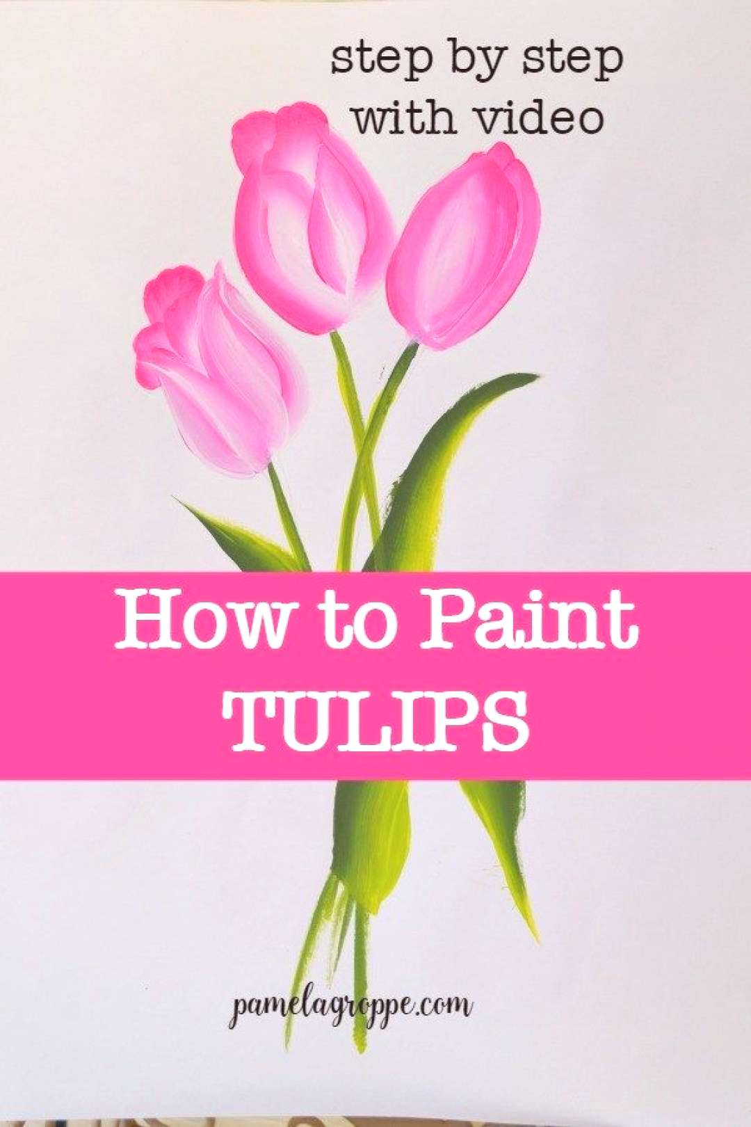 How to Paint Pink tulips fast and easy. Beginner friendly painting tutorial teaching you to paint t