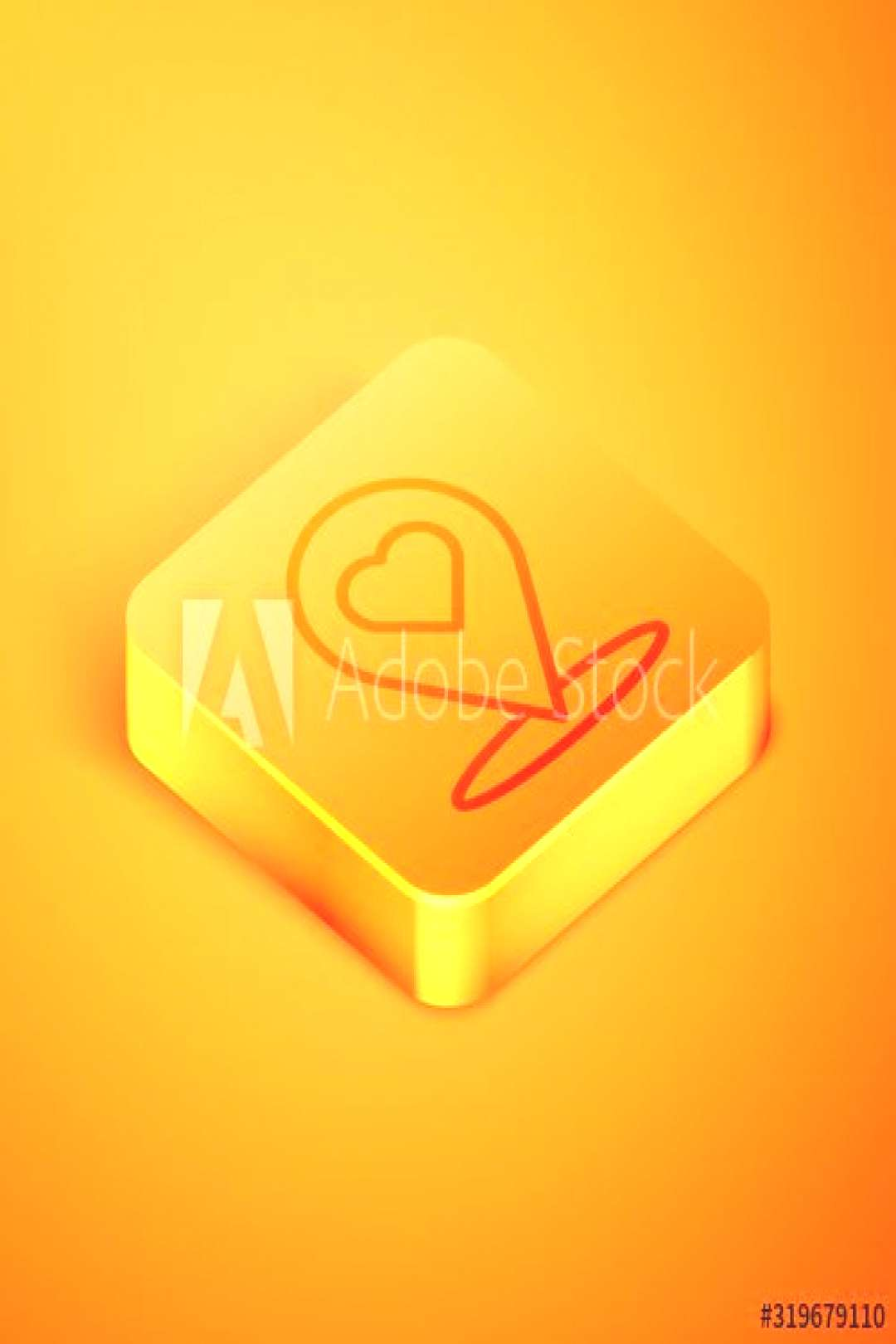 Isometric line Map pointer with heart icon isolated on orange background. Valentines day. Love loca