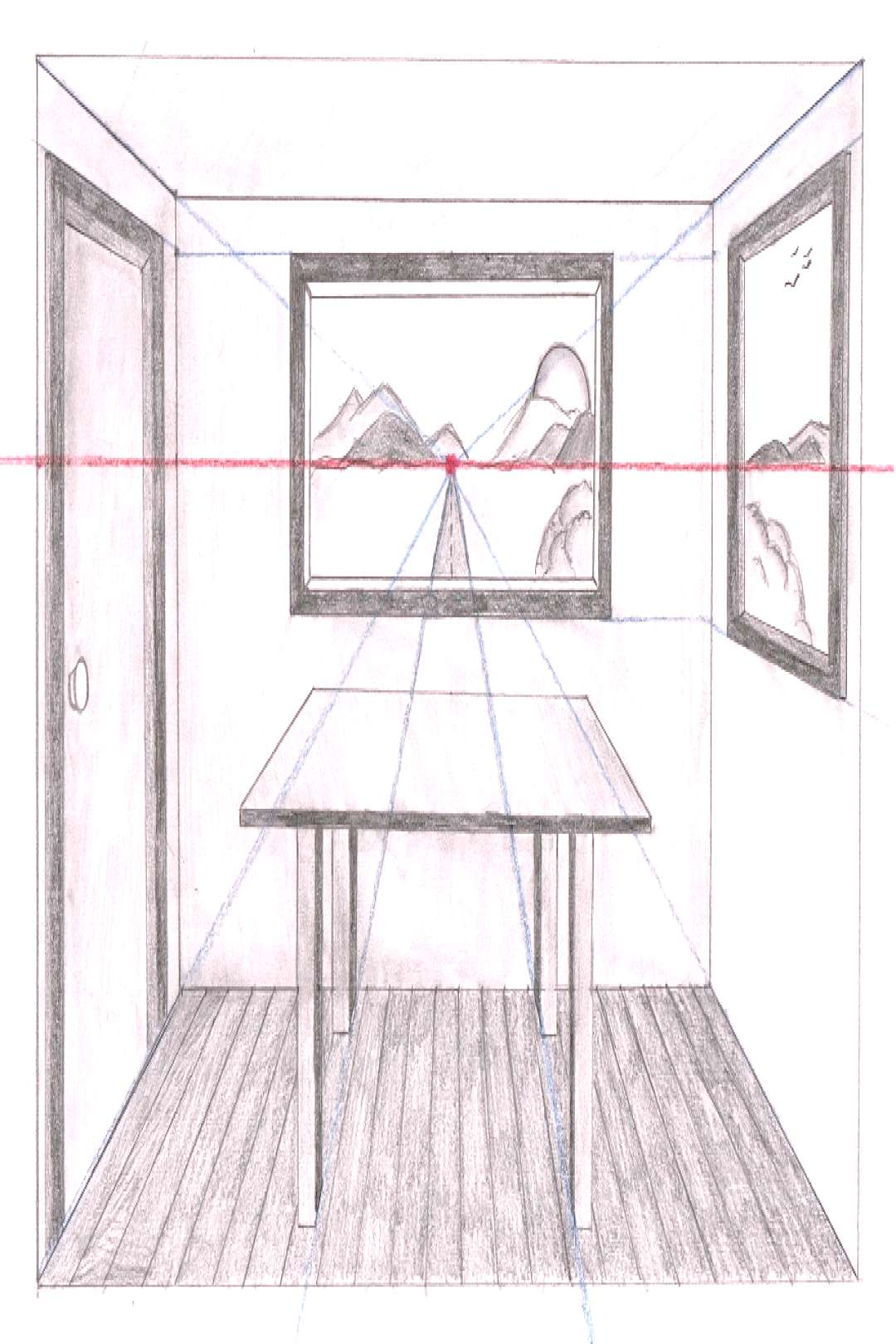 Linear Perspective Drawing Lesson Series [6 of 6] – One Point Perspective Room Drawing – Draw B