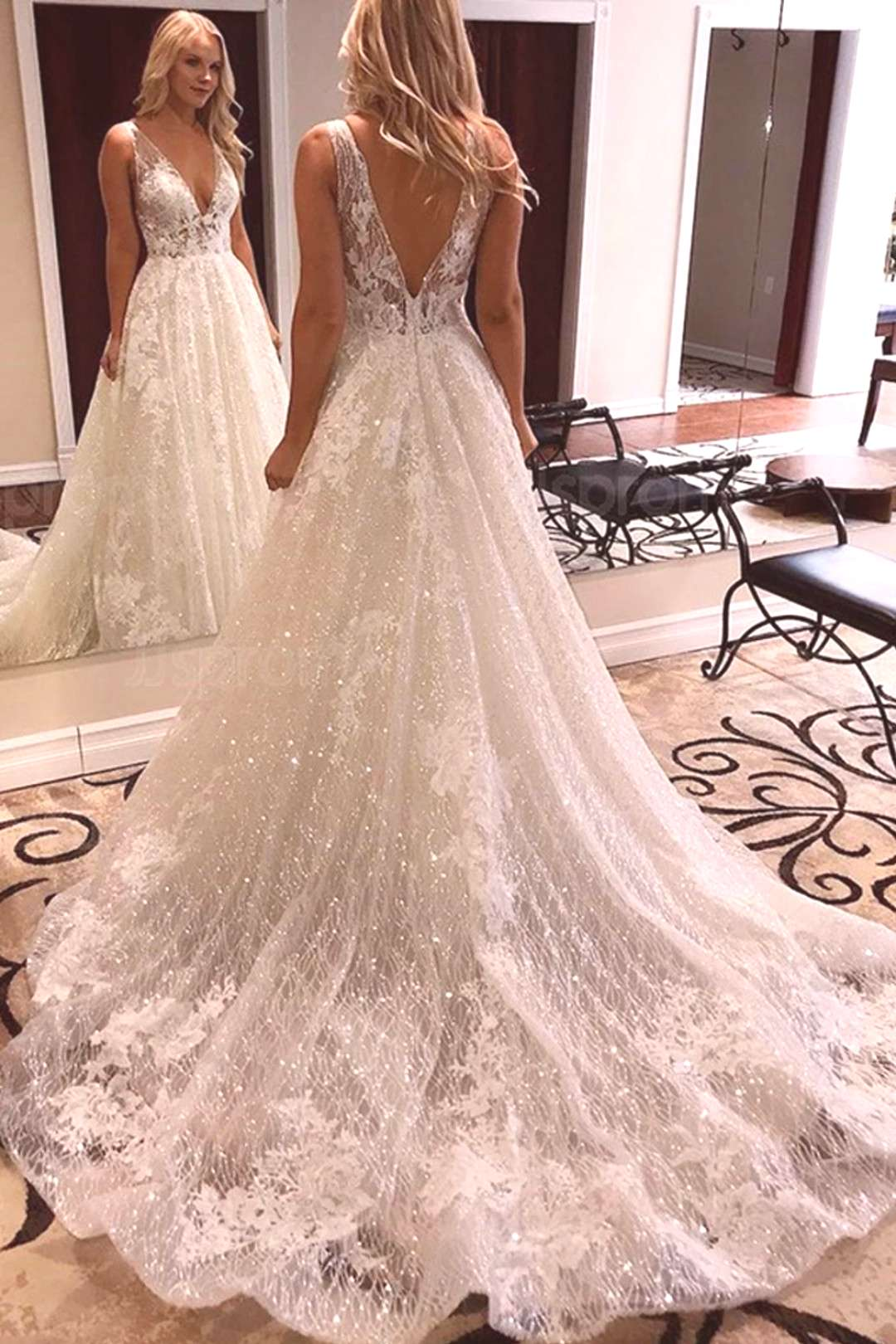Luxurious Ball Gown V Neck Open Back Ivory Lace Wedding Dresses,Sequins Beach Bridal Dresses US$ 37