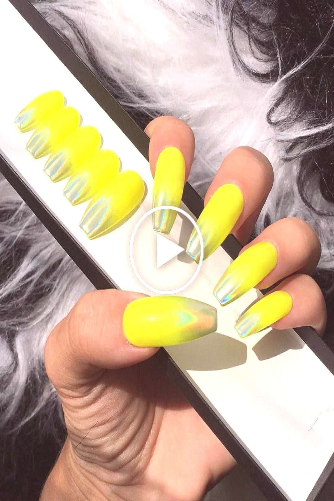 Neon Yellow Press Nails Holographic