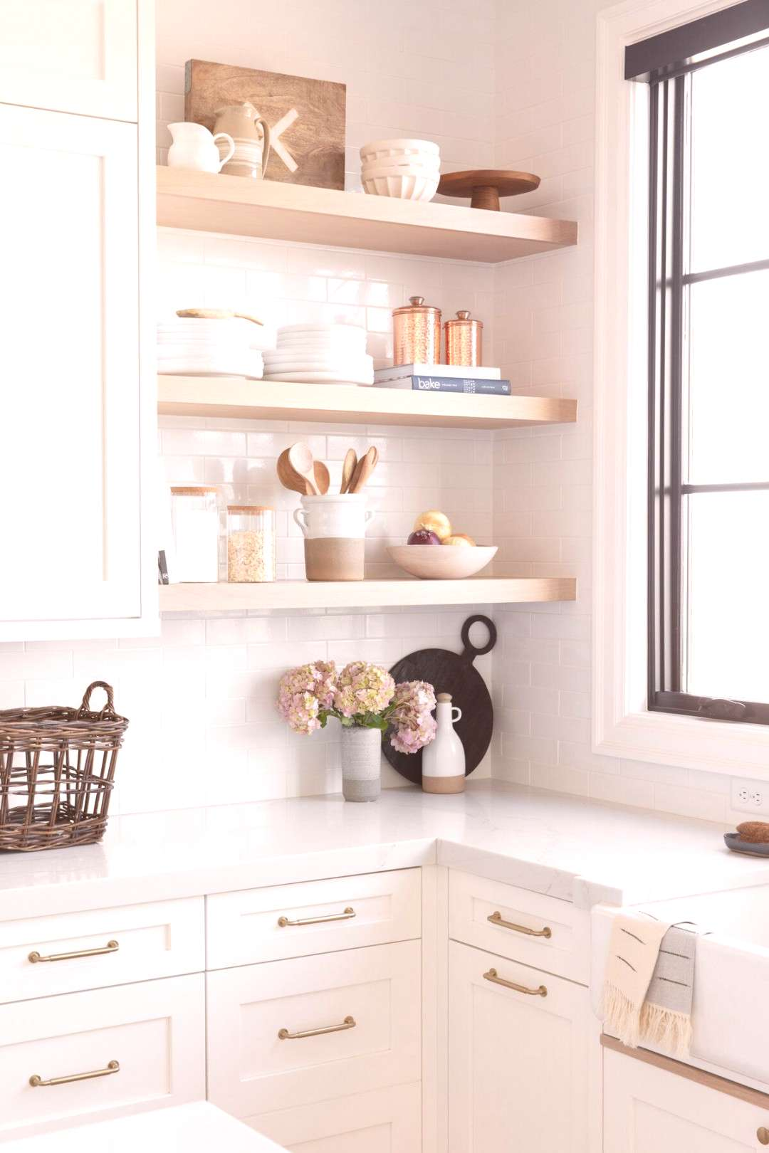 Neutral white and wood kitchen