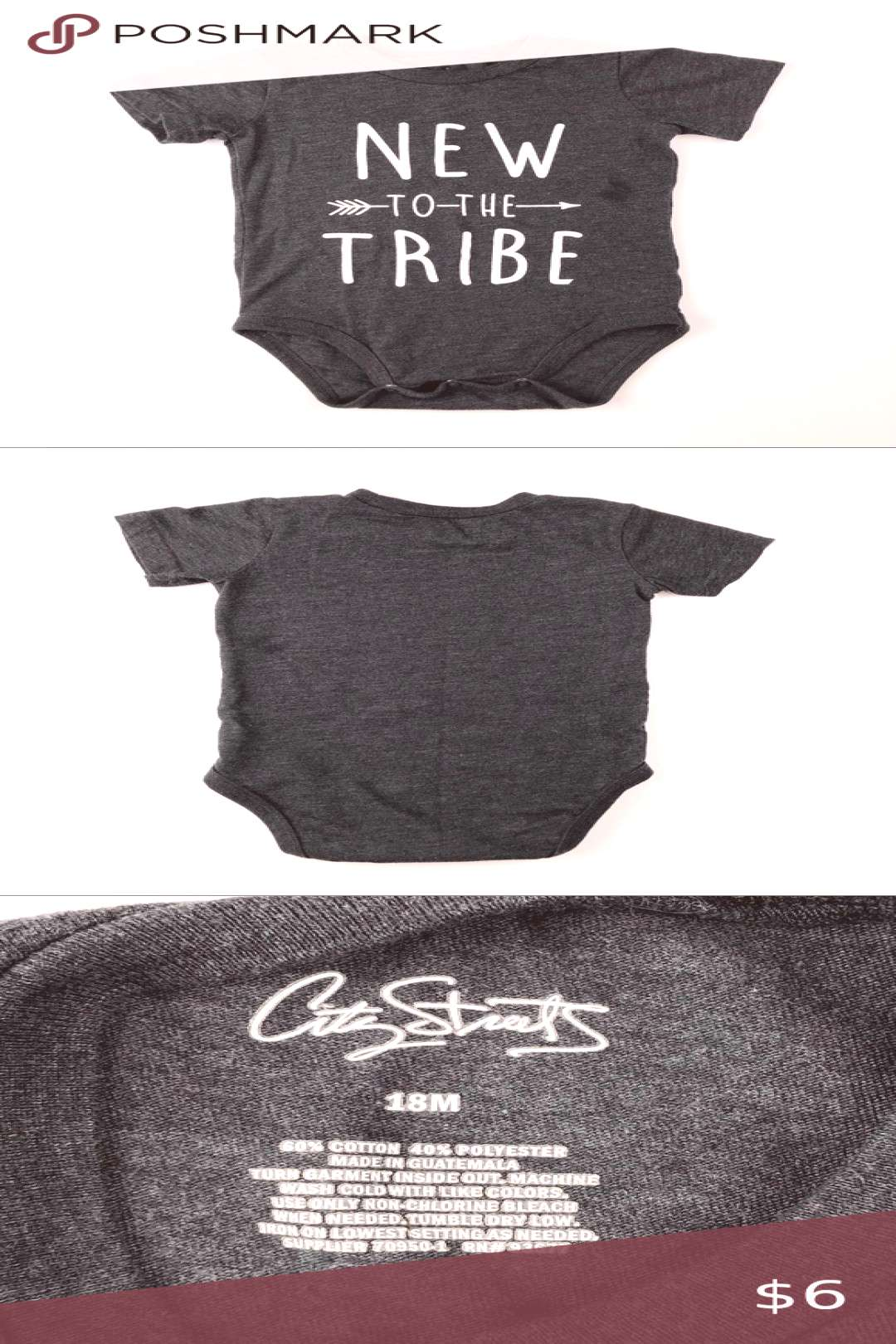 New to the Tribe Charcoal Onesie We loved this little onesie! It still looks great overall, but und