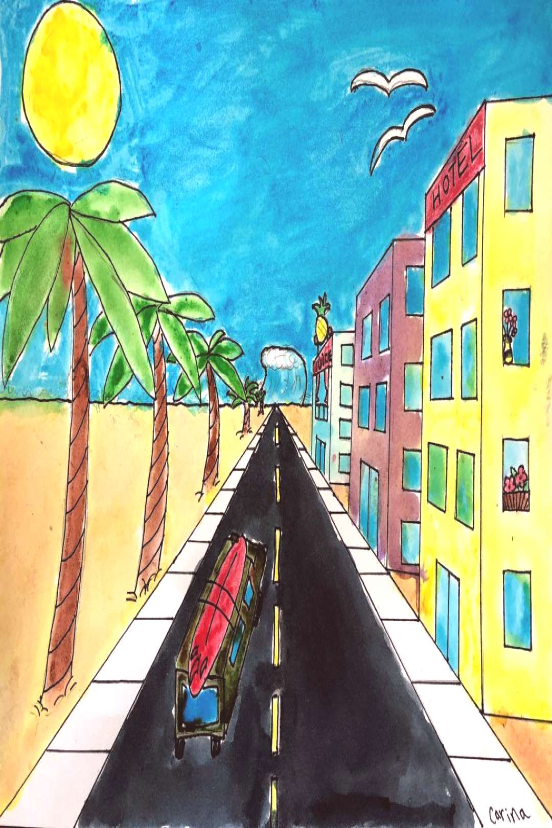 One Point Perspective City - Leah Newton Art