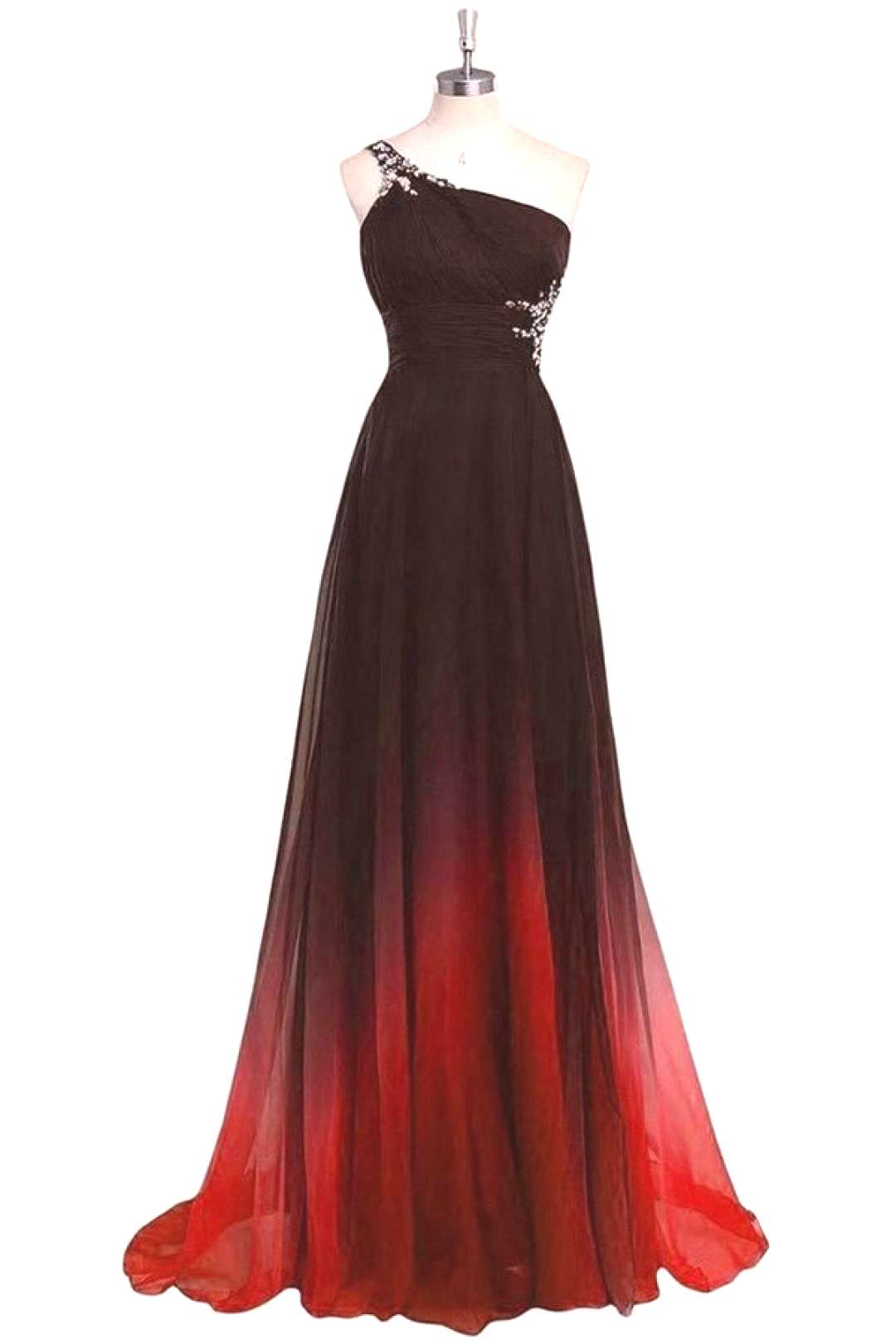 One Shoulder Black And Red Long Ombre Chiffon Beading Open Back Prom Dresses VGFP49619MD