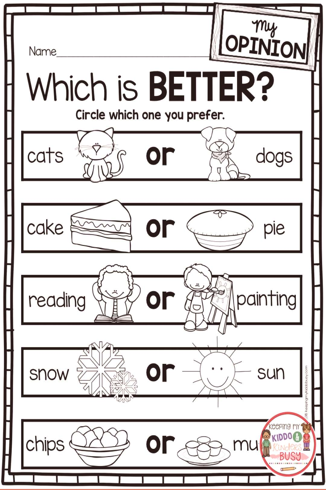 OPINION WRITING kindergarten and first grade freebies - free writers workshop activities OPINION W