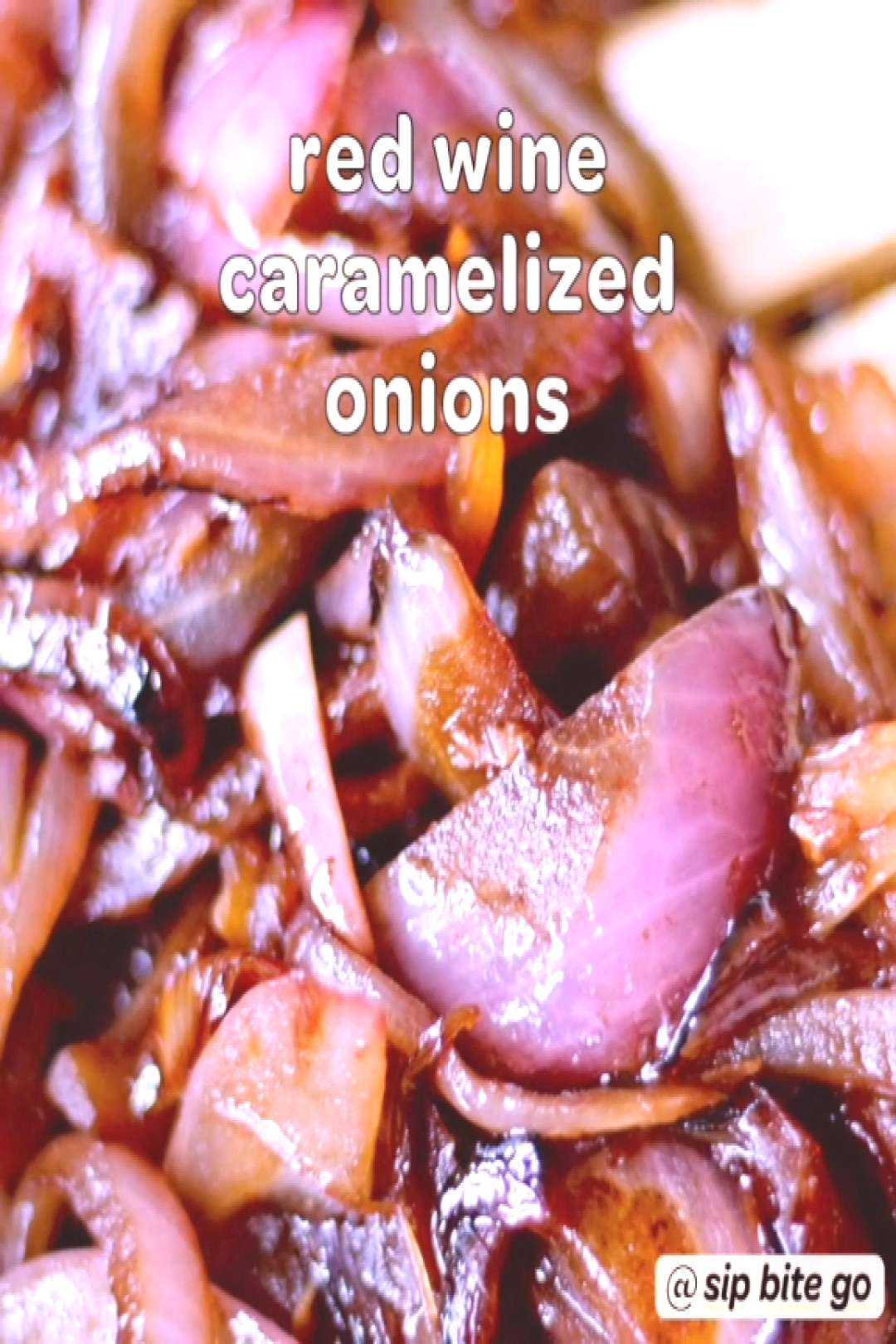 Red wine caramelized onions on the stove. A quick side dish and an easy side dish for steak, burger