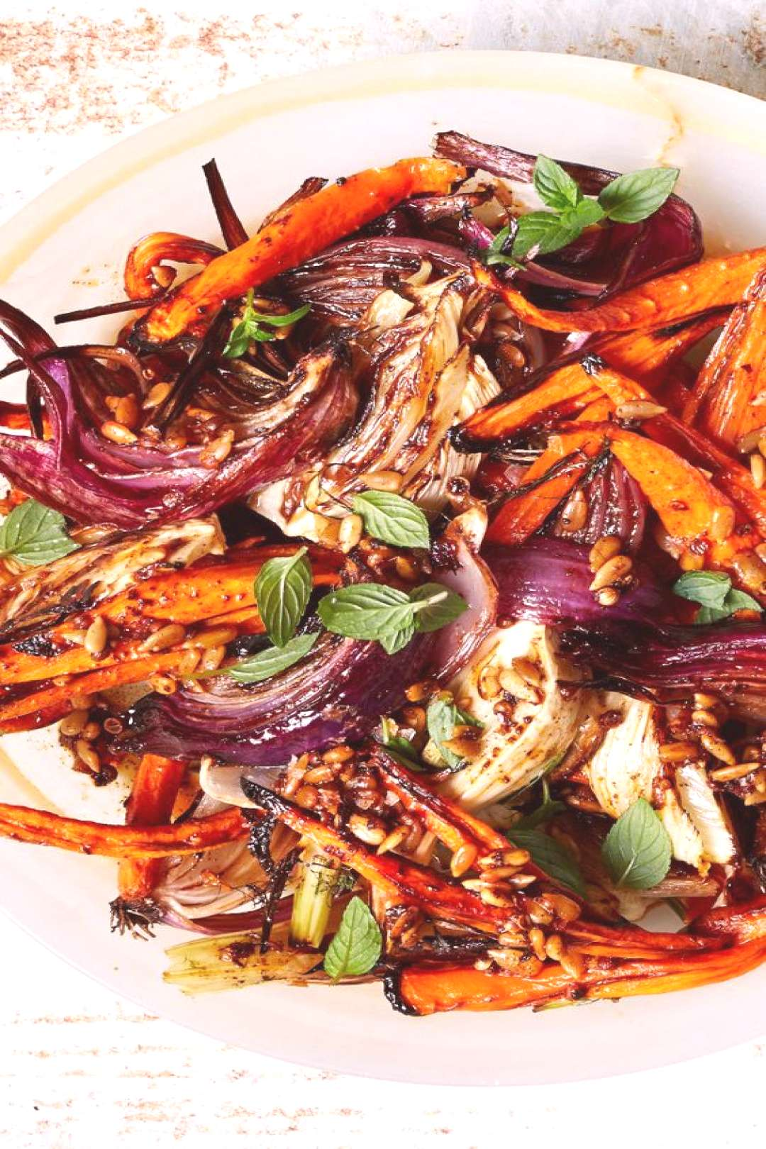 Roasted Carrots and Red Onions with Fennel and Mint Roasted  Carrots and Red Onions with Fennel an