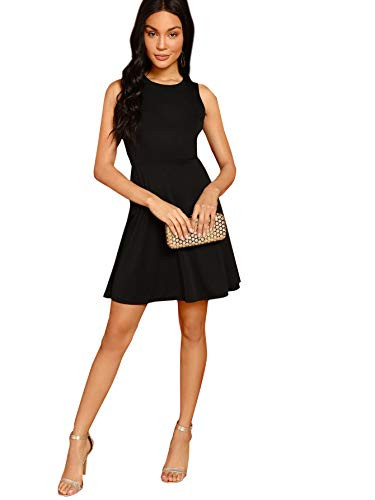 SheIn Womens Sleeveless Lace Applique Cocktail Backless