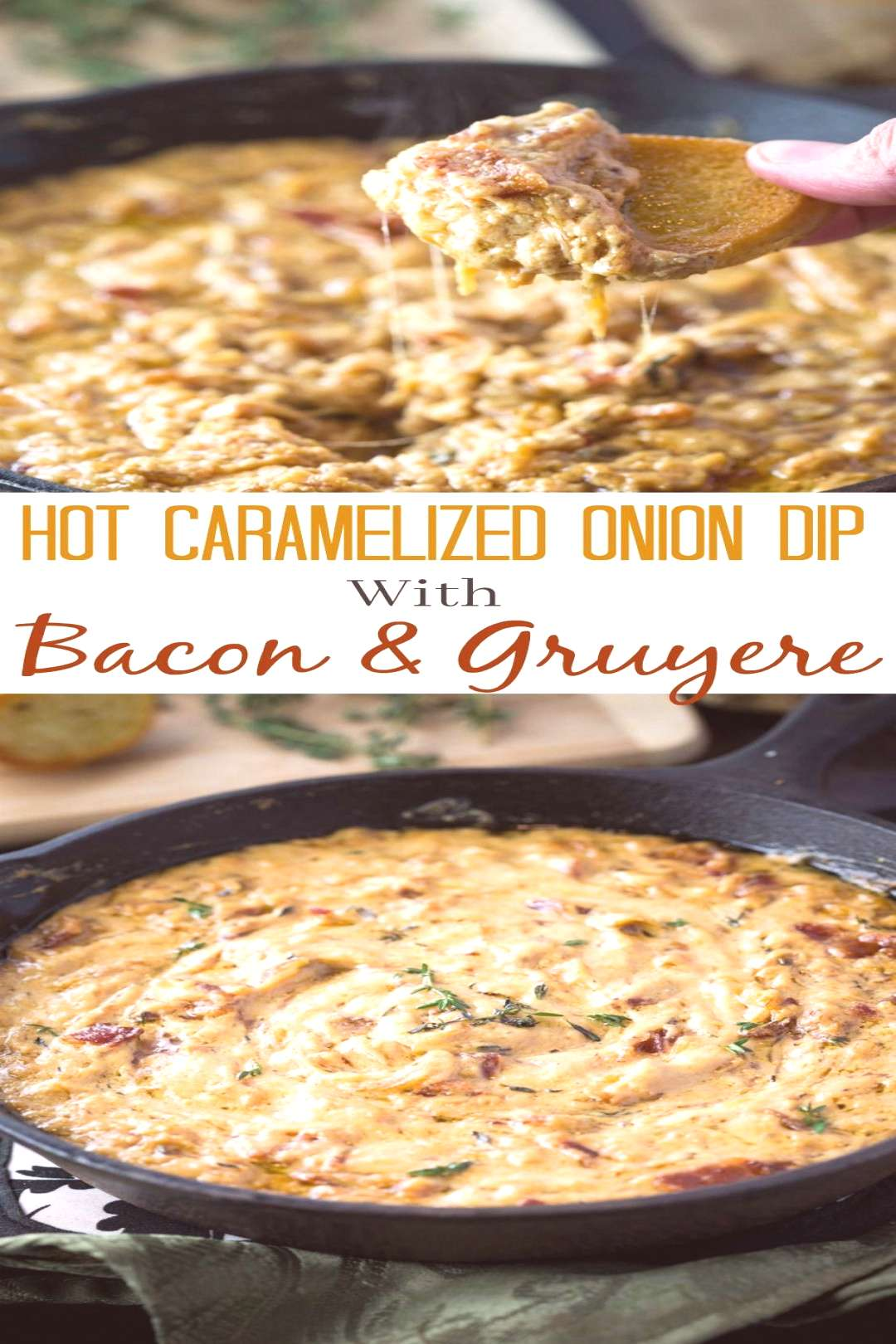 Slow cooked caramelized onions smothered in a warm Gruyere dip with bits of bacon and warm bread fo
