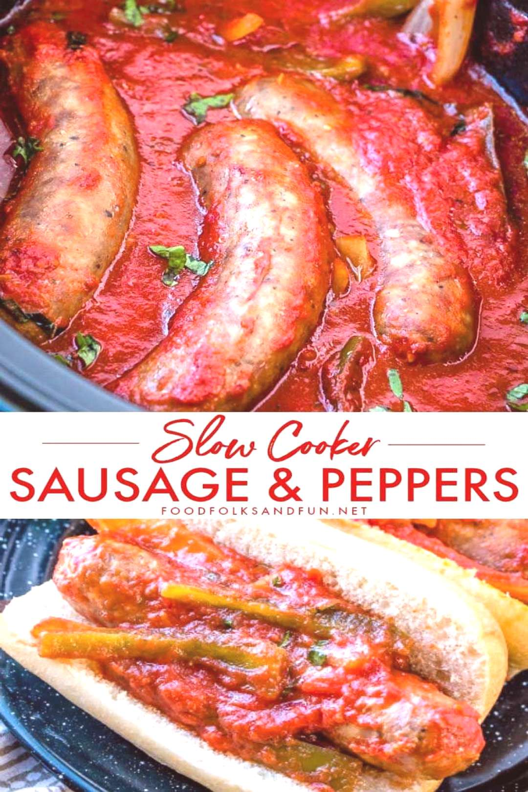 SLOW COOKER Sausage and Peppers Sausage and Peppers is a classic Italian-American comfort food dish