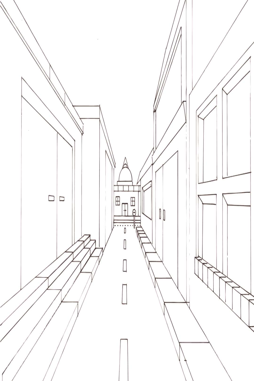 Street View in One Point Perspective by jempavia on DeviantArt
