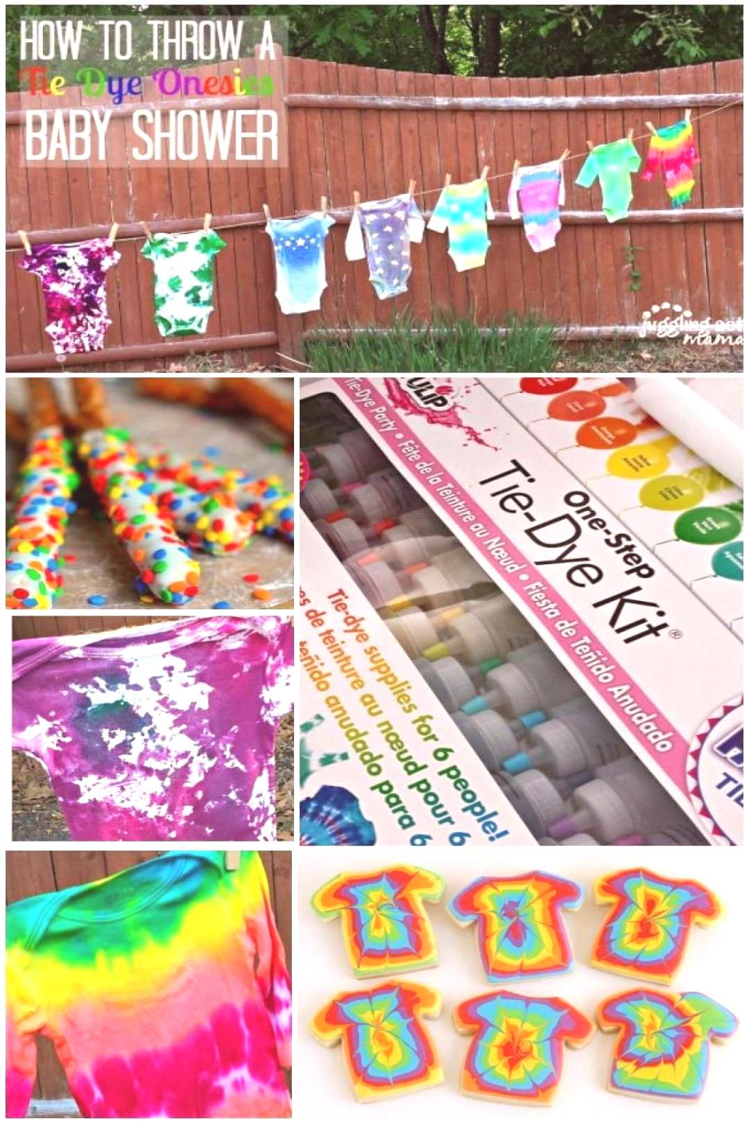 Summer Baby Shower with Tie Dye Onesies - Juggling Act Mama - Download the FREE printable invitati