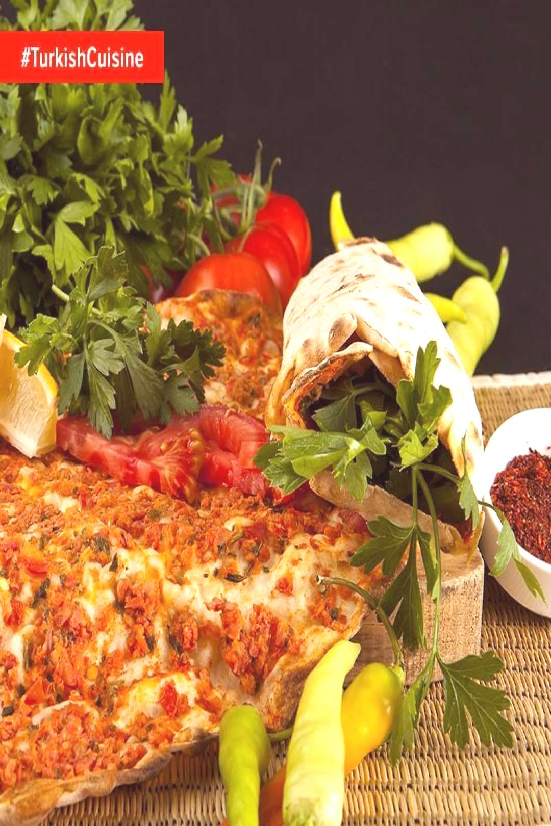 Thin dough topped with minced meat, onions, tomatoes, parsley, minced veggies an...#dough
