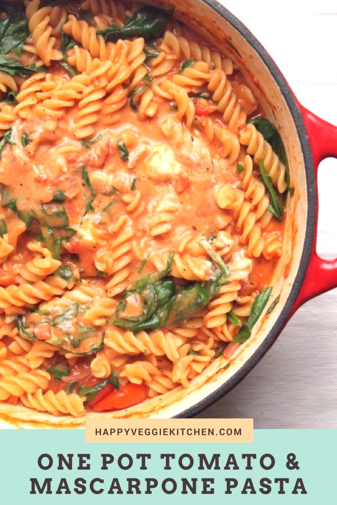 This one pot pasta has a luxurious tomato and mascarpone sauce and lots of fresh spinach. Its an e