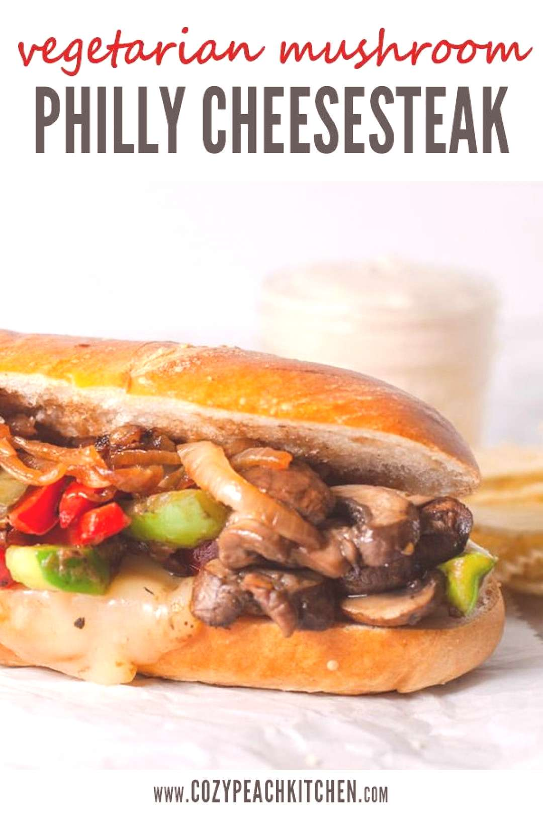 Vegetarian Mushroom Philly Cheesesteak with Caramelized Onions - -