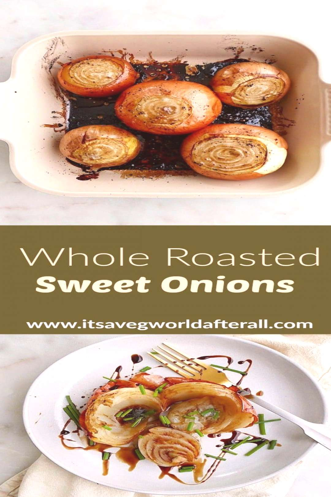 Whole Roasted Onions - these creamy, decadent onions are baked whole in the oven to perfection! The