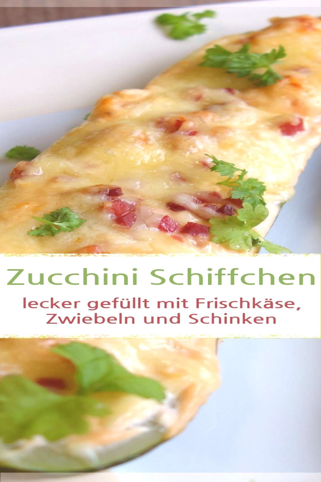Zucchini boat with cream cheese, onions and ham - MeineStube#boat
